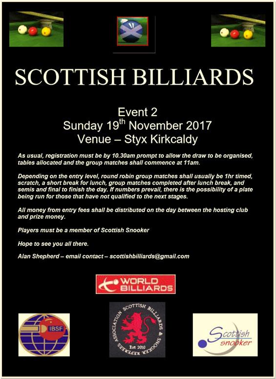 Scottish Billiards Event 2 - Sunday 19th November 2017 - Styx Kirkcaldy