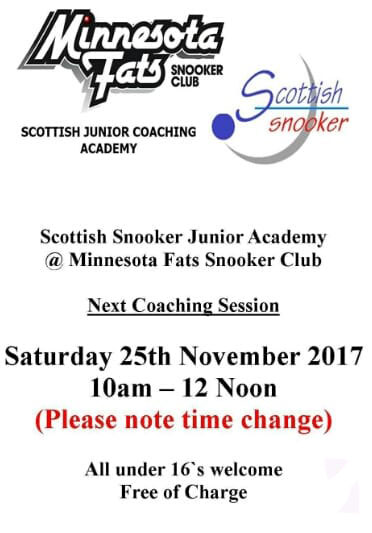 Scottish Snooker Junior Academy Coaching Session - Minnesota Fats Glasgow - 25th November 2017