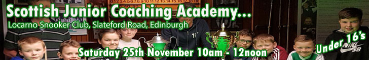 Scottish Junior Coaching Academy - Locarno Snooker Club, Edinburgh, Saturday 25th November 10am