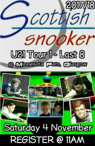 Scottish Snooker Under 21's Tour Event 1 - Last 8 Results