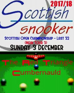Main Tour 3 - Scottish Open Championship Last 32 - Sunday 3rd December 2017