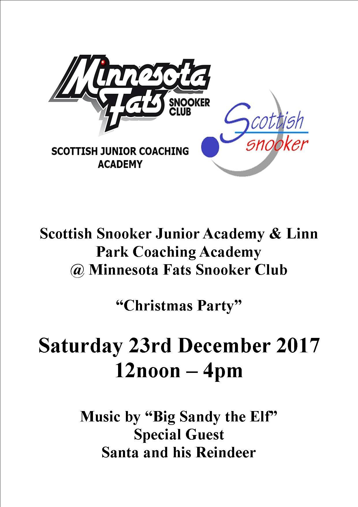 Scottish Junior Snooker Academy - Christmas Party - Saturday 23rd December 2017