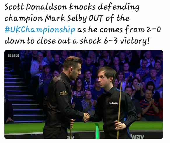 Scott Donaldson Knocks Out Defending Champion & World Number One in UK Championship