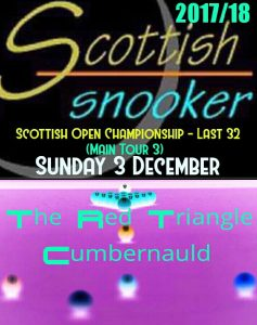 Scottish Open Championship - Last 32 - Sunday 3rd December 2017
