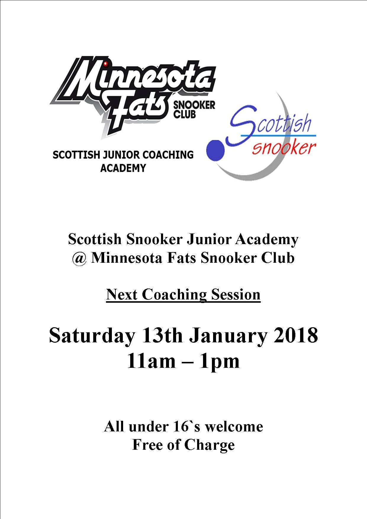 Scottish Snooker Junior Academy - Saturday 13th January 2018 - Minnesota Fats Snooker Club
