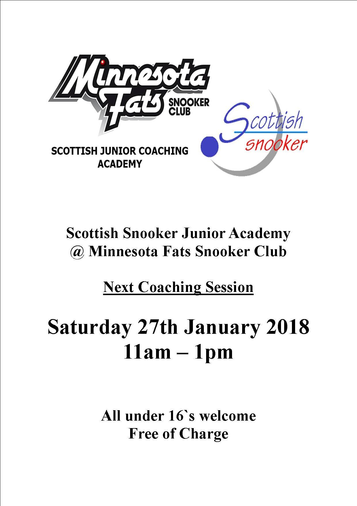 Scottish Snooker Junior Academy - Minnesota Fats Snooker Club - 27th January 2018