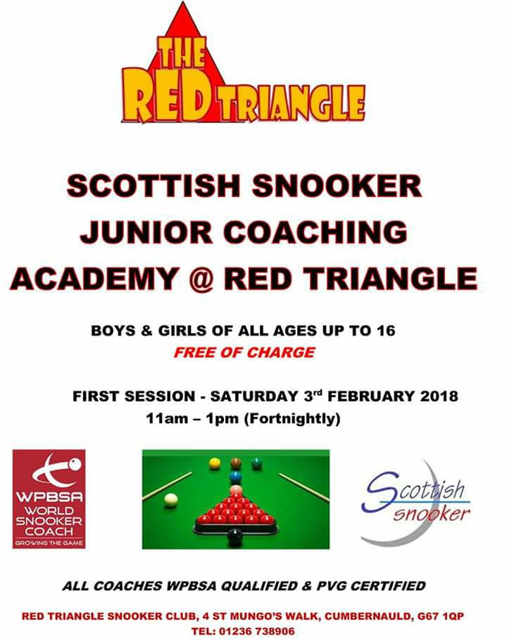 Scottish Snooker Junior Coaching Academy - Red Triangle - Saturday 3rd February 2018