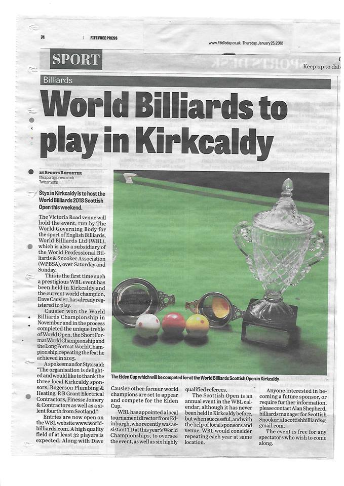 World Billiards to Play in Kirkaldy