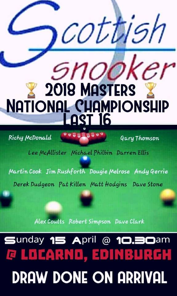 Scottish Snooker 2018 Masters National Championship Last 16